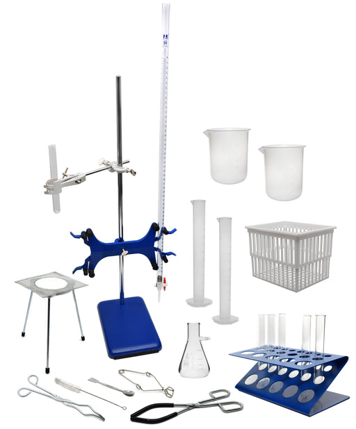 67 Piece Set - Complete Research Grade Lab Starter Kit - Includes Beakers, Cylinders, Test Tubes, Burette, Tongs, Ring Stand, Tube Rack, Clamps, and More - Eisco Labs
