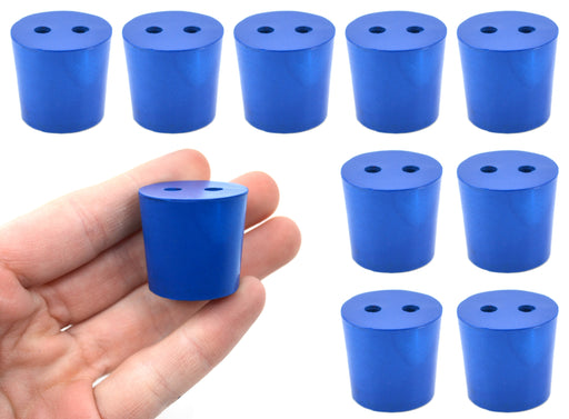 10PK Neoprene Stoppers, 2 Holes - ASTM - Size #5 - 23mm Bottom, 27mm Top, 25mm Length