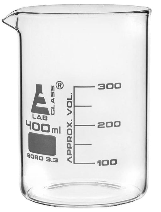 Beaker, 400ml - Low Form with Spout - White, 50ml Graduations - Borosilicate 3.3 Glass