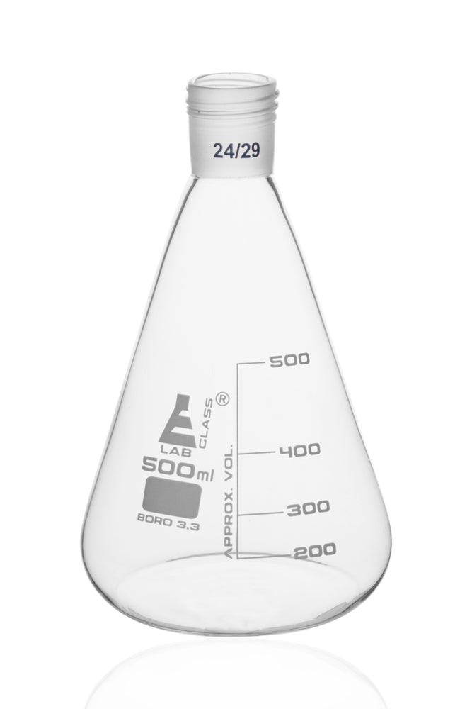 Erlenmeyer Flask with 24/29 Joint, 500ml - 100ml White Graduations - Interchangeable Screw Thread Joint - Borosilicate Glass - Eisco Labs