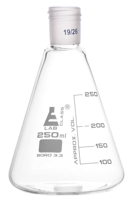 Erlenmeyer Flask with 19/26 Joint, 250ml Capacity, 50ml Graduations, Interchangeable Screw Thread Joint, Borosilicate Glass - Eisco Labs