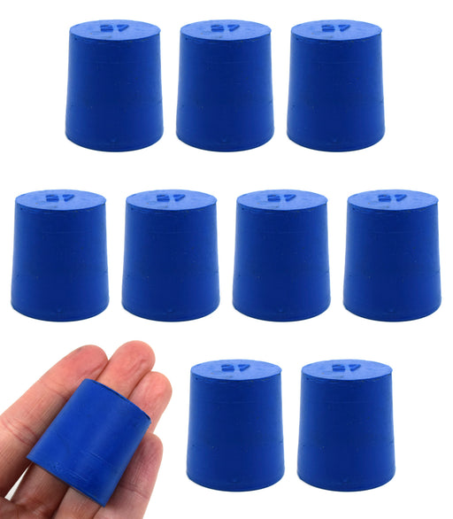 Neoprene Stoppers, Solid Blue - Size: 27mm Bottom, 31mm Top, 32mm Length - Pack of 10
