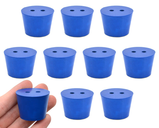 10PK Neoprene Stoppers, 2 Holes - ASTM - Size #6.5 - 27mm Bottom, 34mm Top, 25mm Length