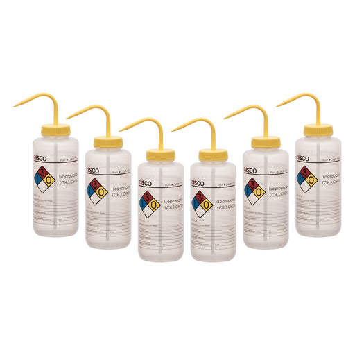 6PK Performance Plastic Wash Bottle, Isopropanol, 1000 ml - Labeled (4 Color)
