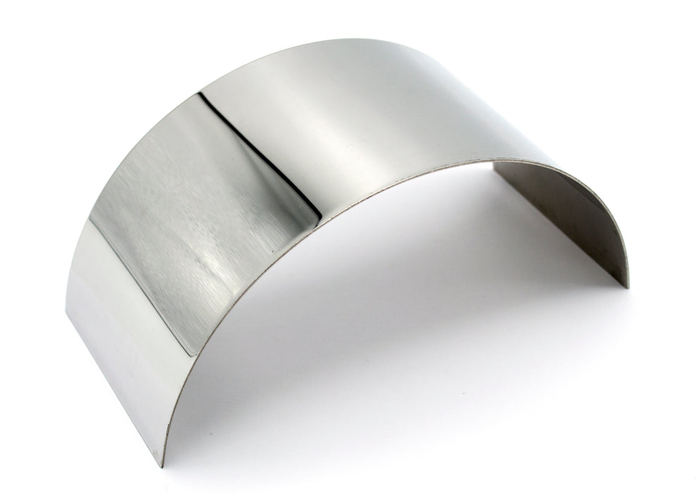 "Plane Half Cylinder Convex Stainless Steel Mirror for use with Ray Box - 6.25"" x 2.875"" - 1mm Thick Approx. - Eisco Labs"