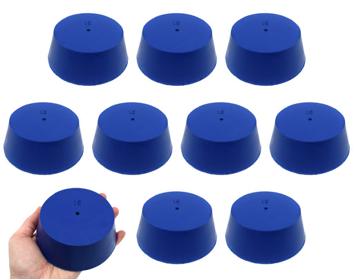 Neoprene Stopper, ASTM - Pack of 10 - 1 Hole - Blue, Size #15: 83mm Bottom, 103mm Top, 39mm Length - Eisco Labs