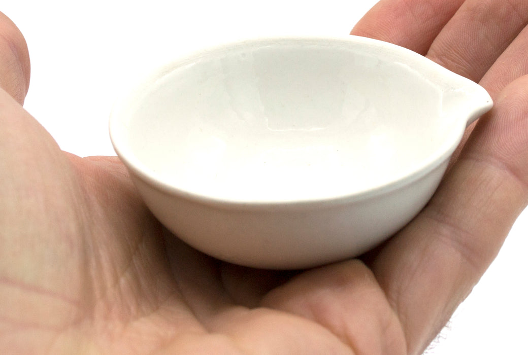 "40mL capacity, Round Evaporating Dish with Spout - Porcelain - 2.4"" Outer Diameter, 0.9"" Tall"