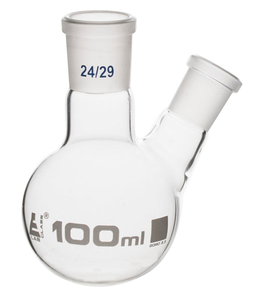 Distilling Flask, 100ml - 24/29 Oblique Neck with 14/23 Joint - Borosilicate Glass - Round Bottom - Eisco Labs