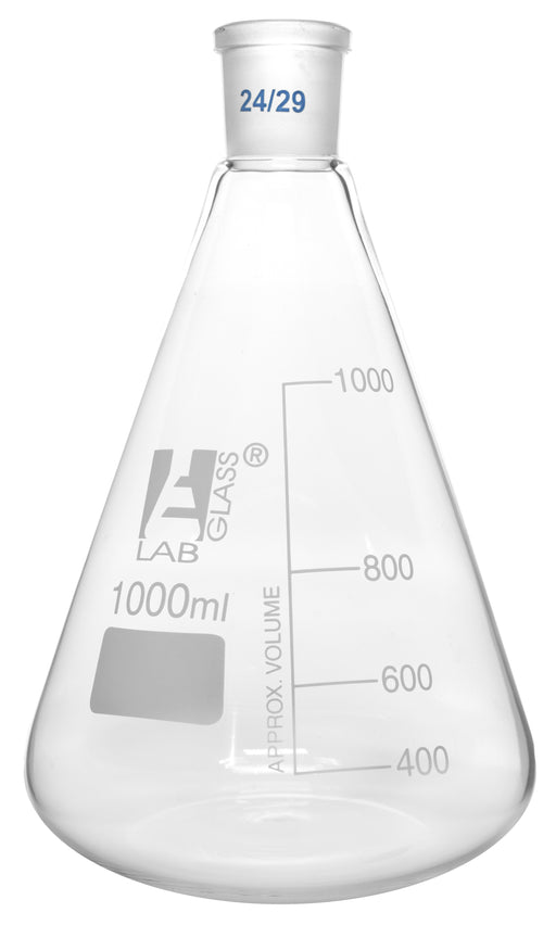 Erlenmeyer Flask, 1000ml - 24/29 Joint, Interchangeable - Borosilicate Glass - Conical Shape, Narrow Neck - Eisco Labs