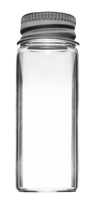 "Bijou Vial, 14ml - Borosilicate 3.3 Glass, Aluminum Screw Cap with Rubber Liner 22 x 60 mm (2.4"" Height) - Flat Bottom - Eisco Labs"