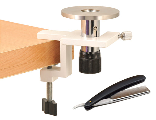 Hand & Table Microtome, 10 Microns per Click - For Section Cutting - Includes Wooden Storage Case & Cutting Razor - Eisco Labs