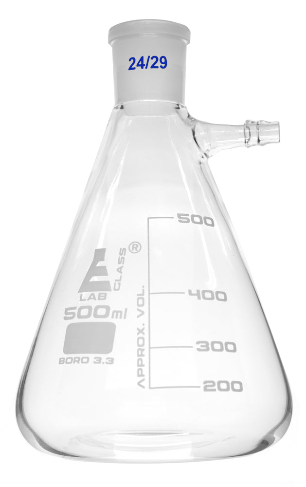 Buchner Filtering Flask, 500ml - Socket Size 24/29 -  Interchangeable Joint - Side Arm - Borosilicate Glass - Eisco Labs