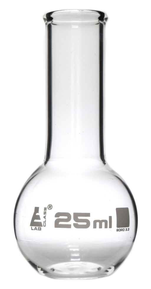 Boiling Flask, 25ml - Borosilicate Glass - Flat Bottom, Narrow Neck - Eisco Labs