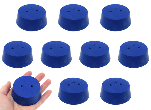 10PK Neoprene Stoppers, 2 Holes - ASTM - Size #13 - 58mm Bottom, 68mm Top, 25mm Length