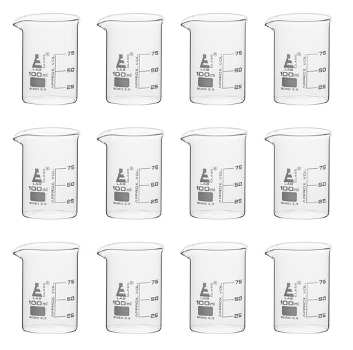 12PK Beakers, 100ml - Griffin Style, Low Form with Spout - White, 25ml Graduations - Borosilicate 3.3 Glass