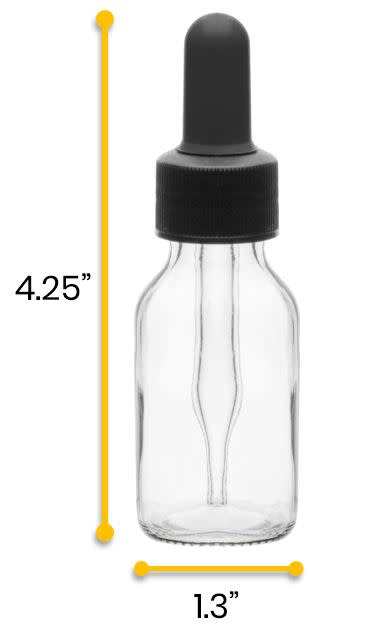 Dropping Bottle, 30ml (1oz) - Screw Cap with Glass Dropper - Soda Glass