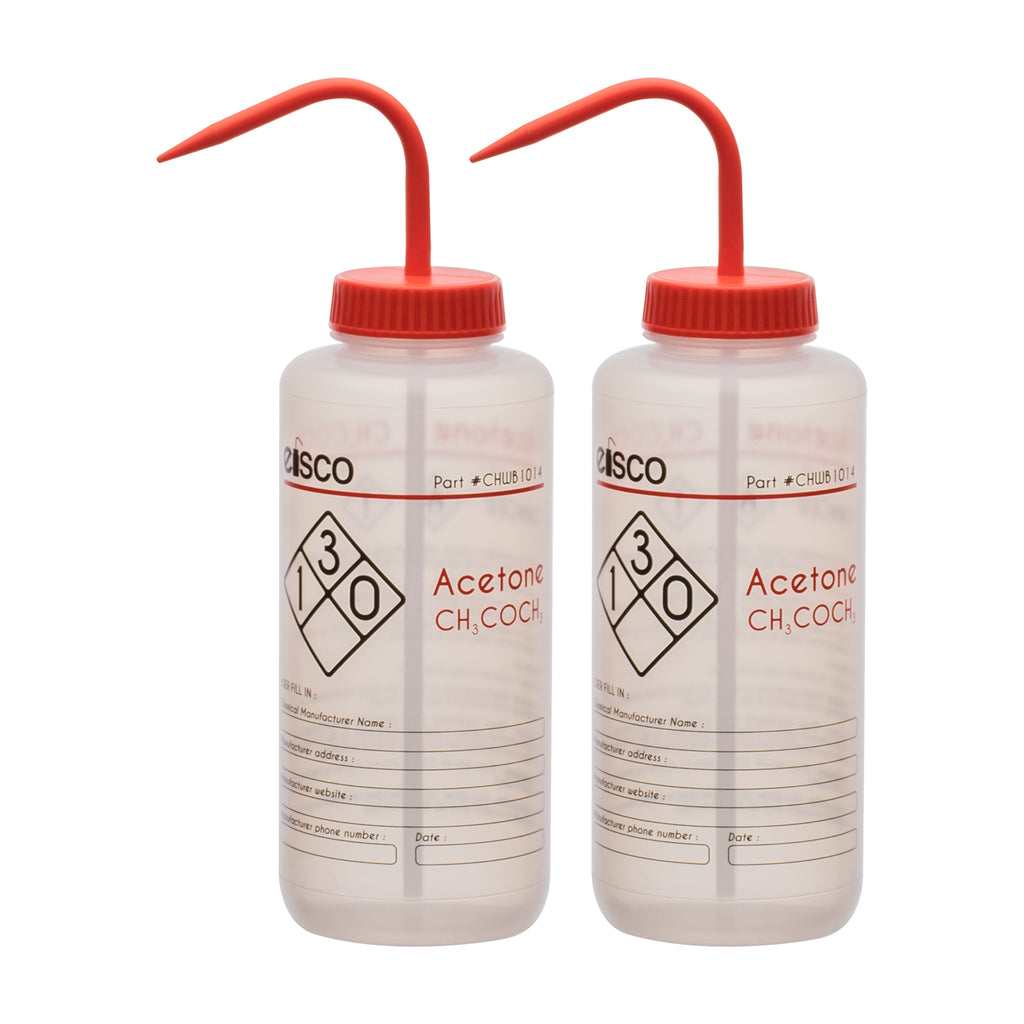 Low Density Polyethylene Wash Bottle for Acetone 1000ml Labeled with Chemical Information /& Safety Information Self Venting Performance Plastics by Eisco Labs 1 Color - Wide Mouth