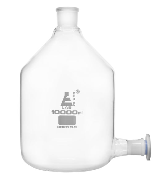 Aspirator Bottle, 10,000ml - Outlet for Tubing with 29/32 Polypropylene Stopper - 45/40 Top Socket - Borosilicate Glass - Eisco Labs