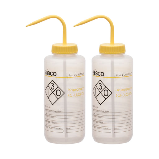 2PK Performance Plastic Wash Bottle, Isopropanol, 1000 ml - Labeled (2 Color)