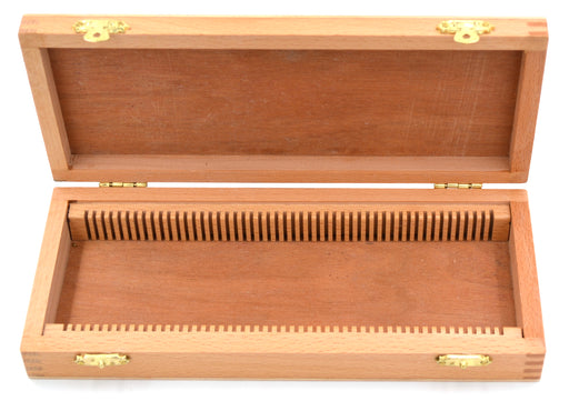 Wooden Slide Box for 50 slides, with Latches- Fits 75x25mm Slides - Eisco Labs