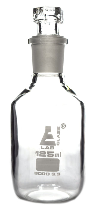 Reagent Bottle, Borosilicate Glass, Narrow Mouth with Interchangeable Hexagonal hollow glass Stopper - 125ml - Eisco Labs