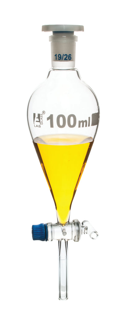 Squibb Separating Funnel, 100ml - 19/26 Plastic Stopper, Glass Key Stopcock, Ungraduated - Borosilicate Glass - Eisco Labs