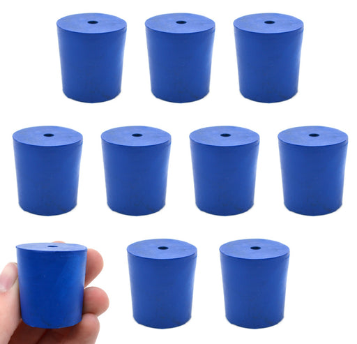 Neoprene Stoppers, 1 Hole - Blue - Size: 27mm Bottom, 31mm Top, 32mm Length - Pack of 10