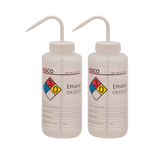 2PK Performance Plastic Wash Bottle, Ethanol, 1000 ml - Labeled (4 Color)