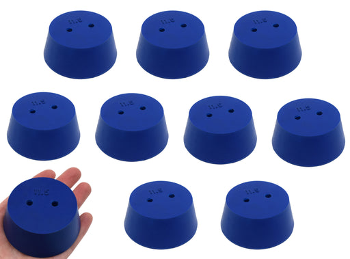 10PK Neoprene Stoppers, 2 Holes - ASTM - Size #11.5 - 50mm Bottom, 63mm Top, 25mm Length