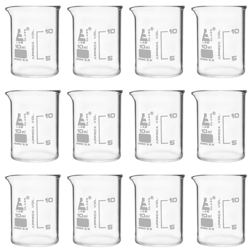 12PK Beakers, 10ml - ASTM - Low Form, Dual Scale Graduations - Borosilicate Glass