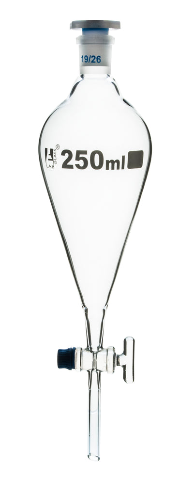 Squibb Separating Funnel, 250ml - 19/26 Plastic Stopper, Glass Key Stopcock, Ungraduated - Borosilicate Glass - Eisco Labs