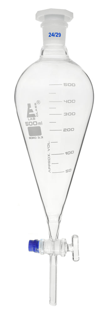 Squibb Separating Funnel, 500ml - 24/29 Plastic Stopper, Glass Key Stopcock, Graduated - Borosilicate Glass - Eisco Labs