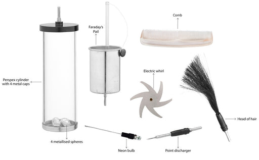 Electrostatics Accessories Kit, 7 Pieces - Designed to be used with Van De Graaff And Wimshurst Machines