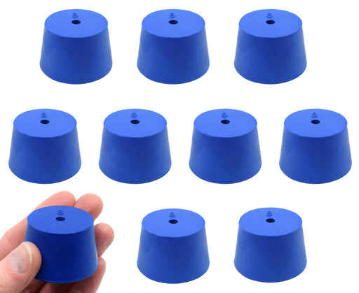 Neoprene Stopper, 1 Hole - Blue, Size: 36mm Bottom, 41mm Top, 21mm Length - Pack of 10 - Eisco Labs