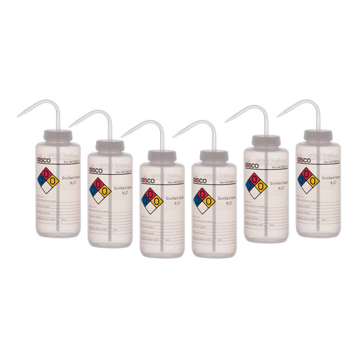 6PK Performance Plastic Wash Bottle, Distilled Water, 1000 ml - Labeled (4 Color)