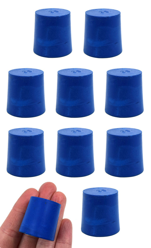 Neoprene Stoppers, Solid Blue - Size: 25mm Bottom, 28mm Top, 28mm Length - Pack of 10
