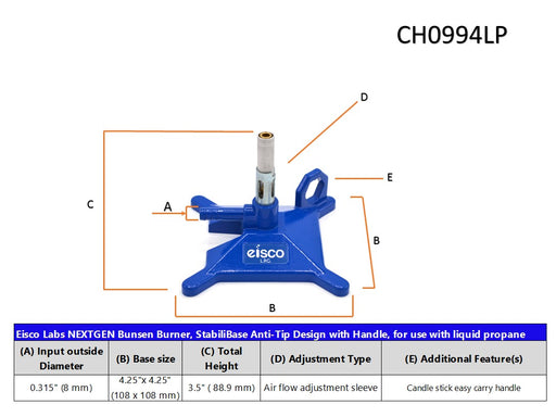 Liquid Propane Micro Bunsen Burner, StabiliBase Anti-Tip Design with Handle, with Flame Stabilizer, LP Eisco Labs