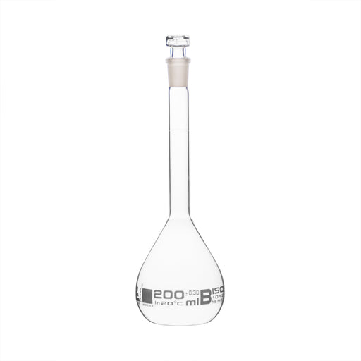 Volumetric Flask, 200ml - Class B - Hexagonal, Hollow Glass Stopper - Single, White Graduation - Eisco Labs