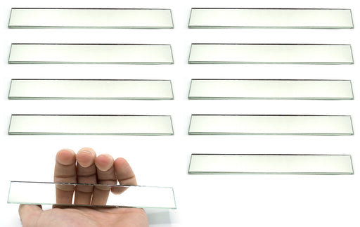 "10 Pack Rectangular Plano Glass Mirror, 6"" x 1"" - 2mm Thick Approx. - Eisco Labs"