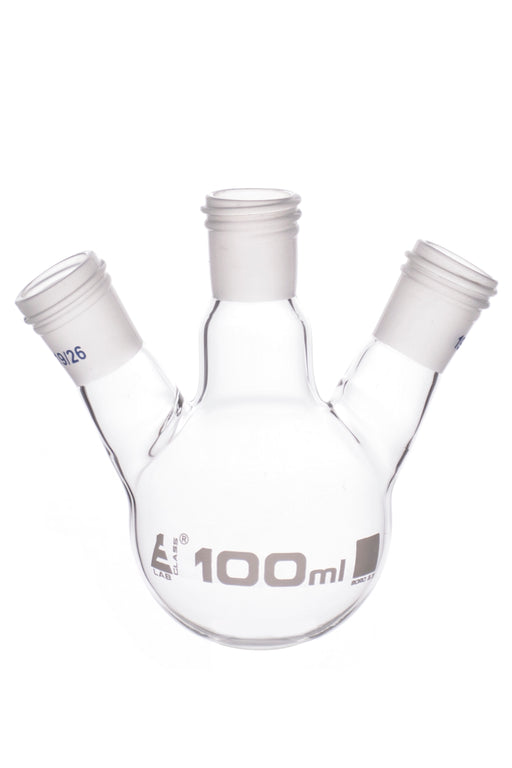 Distillation Flask with 3 Necks, 100ml Capacity, 19/26 Joint Size, Interchangeable Screw Thread Joints, Borosilicate Glass - Eisco Labs
