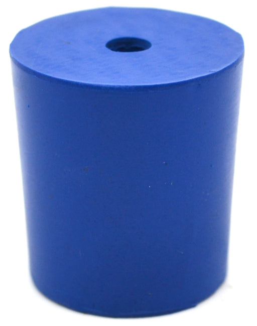 Neoprene Stoppers, 1 Hole - Blue - Size: 23mm Bottom, 26mm Top, 28mm Length - Pack of 10