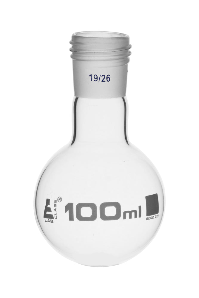 Boiling Flask with 19/26 Joint, 100ml Capacity, Round Bottom, Interchangeable Screw Thread Joint, Borosilicate Glass - Eisco Labs