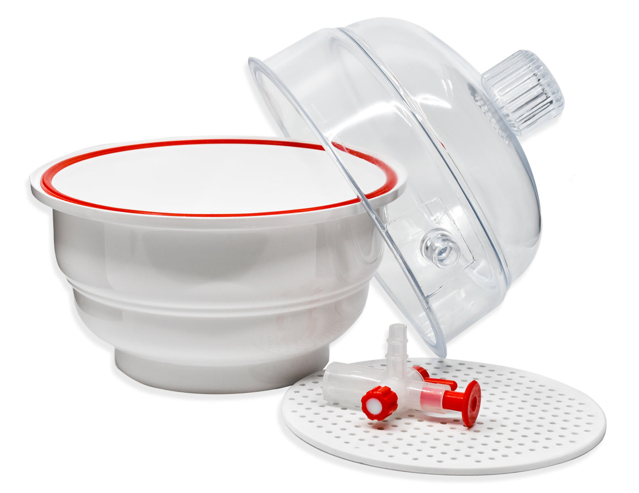 Desiccator Vacuum, 15cm - Polypropylene and Polycarbonate - PTFE and stopcock