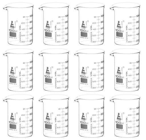 12PK Beakers, 100ml - ASTM - Low Form, Dual Scale Graduations - Borosilicate Glass