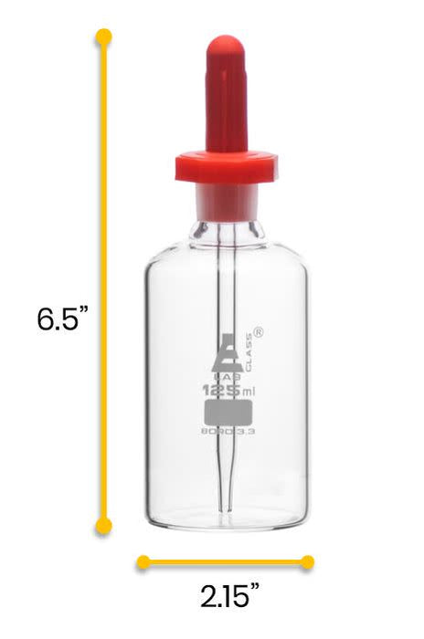 Dropping Bottle, 125ml (4.2oz) - Eye Dropper Pipette - Borosilicate 3.3 Glass