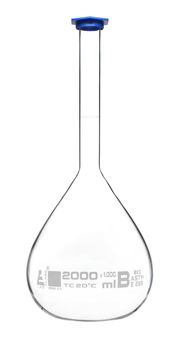 Volumetric Flask, 2000ml - ASTM, Class B Tolerance ±0.1000 ml - Blue Snap Cap - Single, White Graduation, White Printed Specifications - Borosilicate 3.3 Glass - Eisco Labs