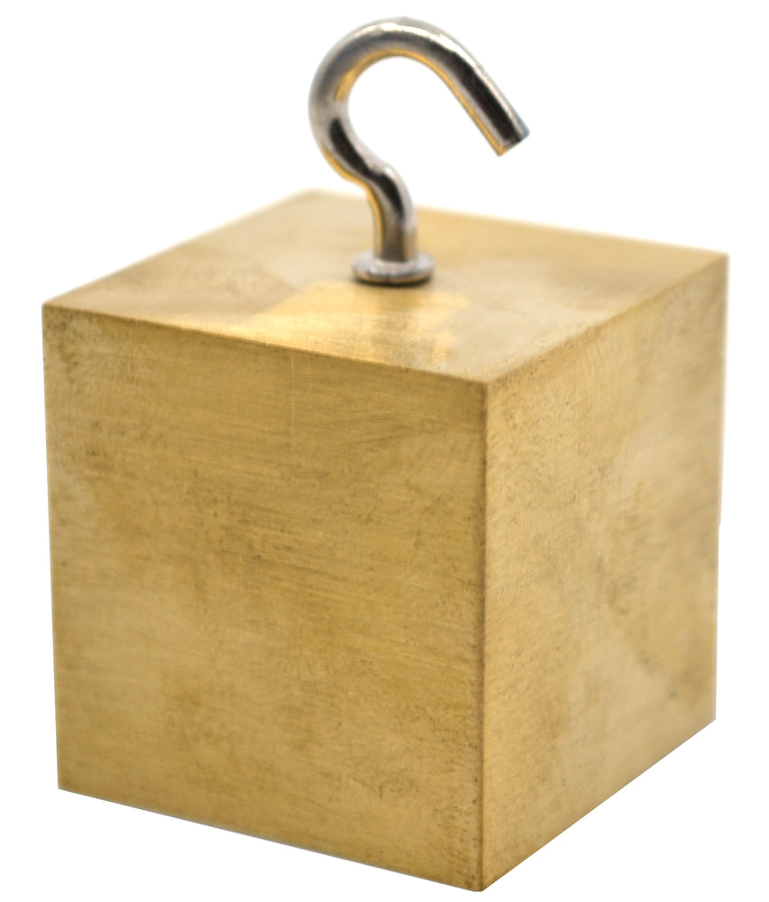 "Density Cube, Single Brass Block with Hook for Density Investigation, 0.75"" (20mm) Sides - Eisco Labs"