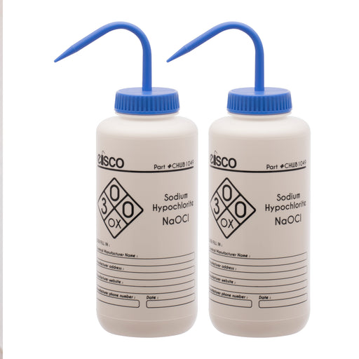 2PK Wash Bottle for Sodium Hypochlorite (Bleach), 1000ml - Labeled (1 Color)