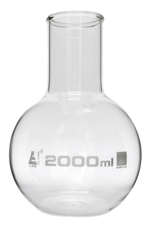 Boiling Flask, 2000ml - Borosilicate Glass - Flat Bottom, Wide Neck - Eisco Labs