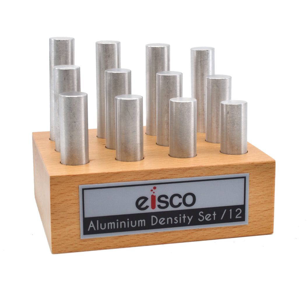 12pc Cylindrical Bars Density Set, Aluminum - Wooden Storage Block